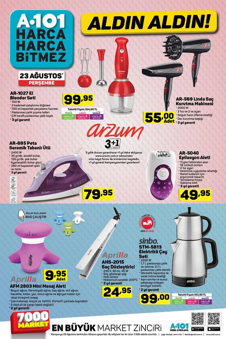 A101 Bu Hafta Kataloğu 23 Ağustos Perşembe Sayfası