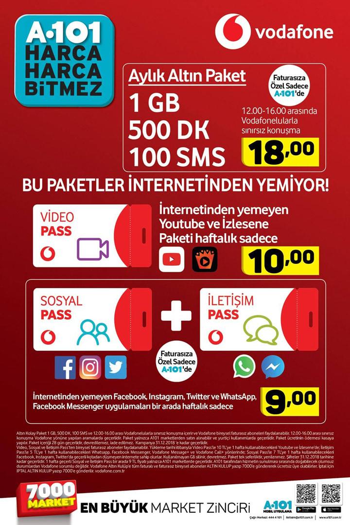 A101 Vodafone Ağustos 2018 Paketleri