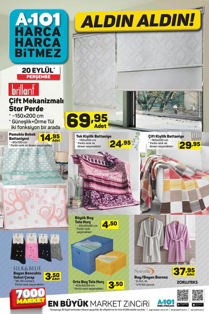 A101 20 Eylül 2018 Perşembe Ev Tekstili Ürünleri