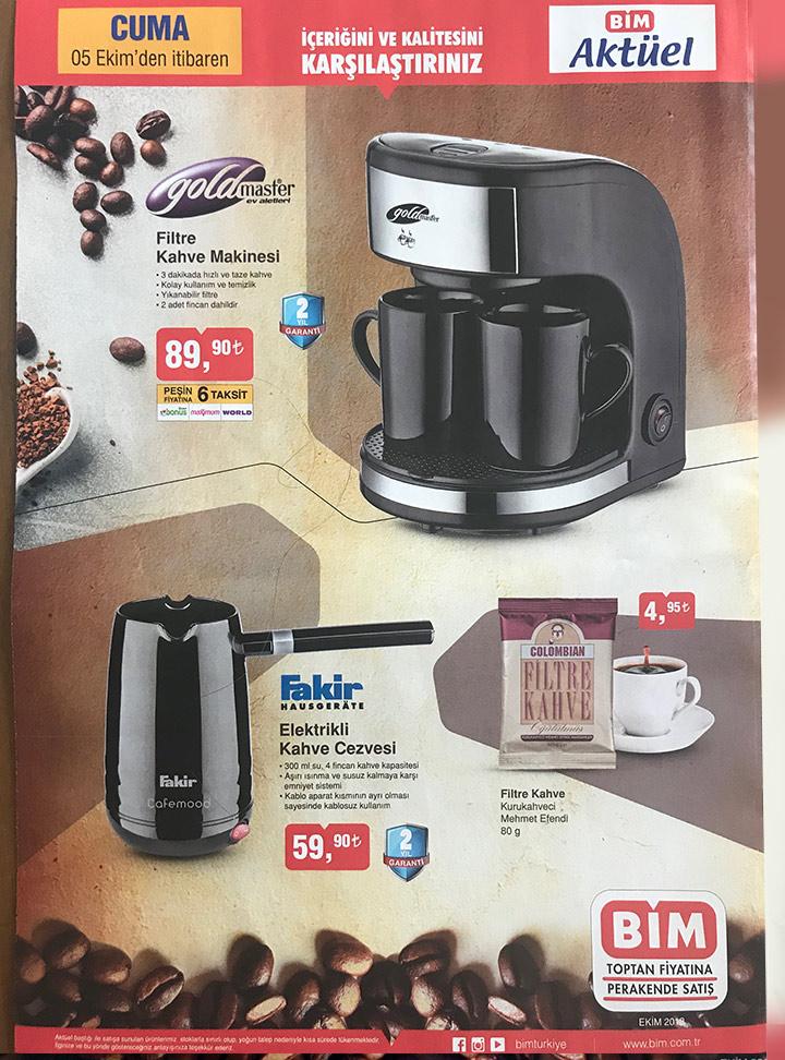 Bim 5 Ekim Kahve Makinesi Aktüel Kampanyası