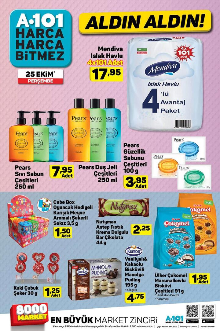 A101 25 Ekim Perşembe Temizlik ve Gıda Aktüel Katalog