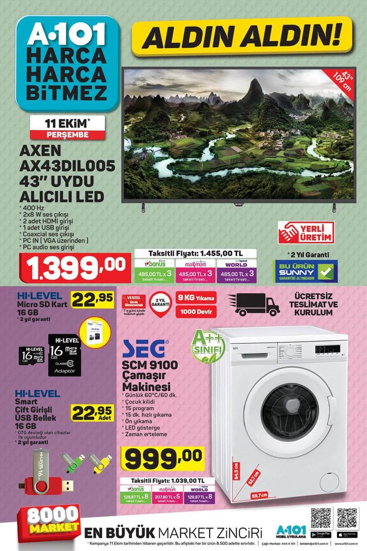 A101 Aktüel, 11 Ekim 2018 Perşembe Yeni Katalog