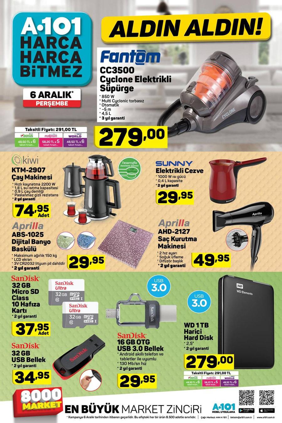 A101 6 Aralık Elektronik Aktüel Ürünleri