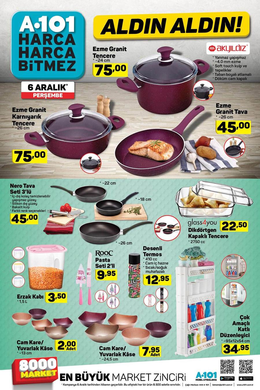 A101 6 Aralık Mutfak Aktüel Ürünleri Kataloğu