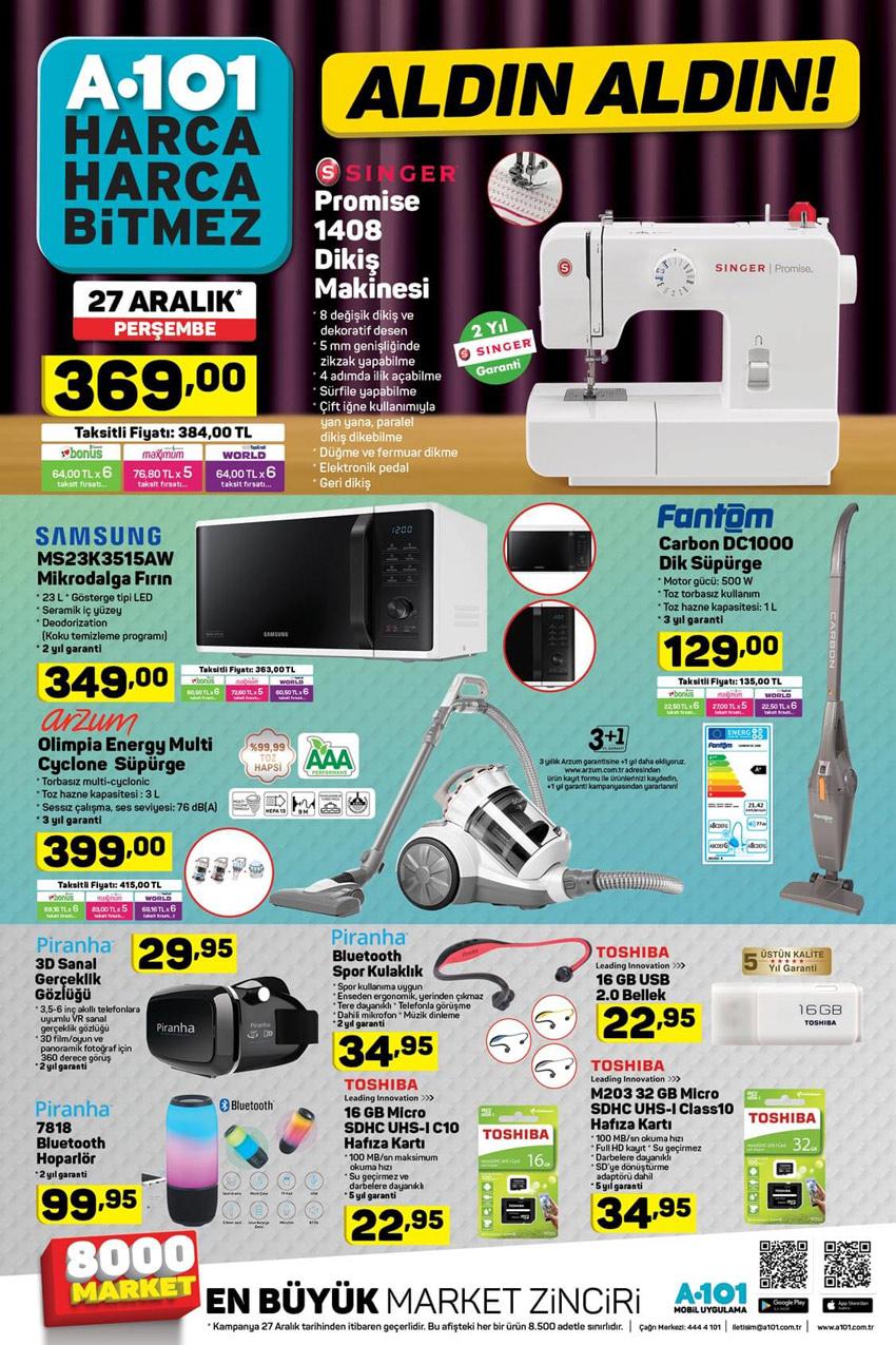 A101 27 Aralık Yeni Aktüel Ürünler Listesi