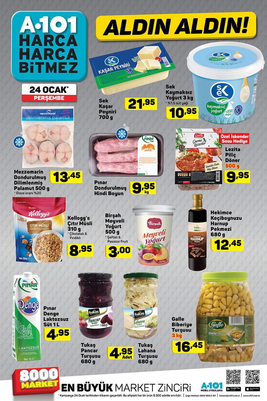 24 OCAK 2019 Perşembe A101 Gıda Spot Ürünler Listesi