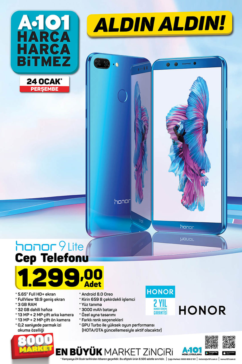 A101 24 Ocak Honor 9 Lite Cep Telefonu Aktüel Ürünü