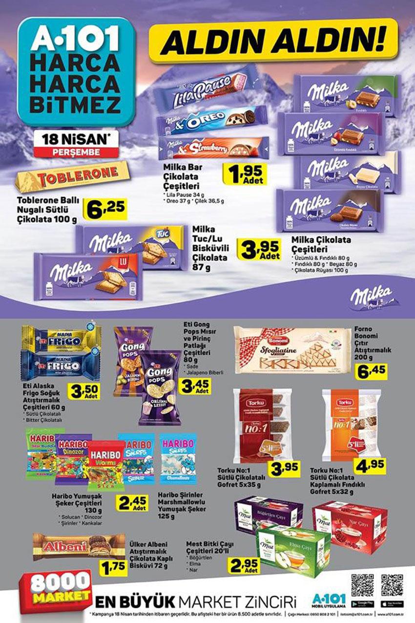 A101 18 Nisan Aktüel Çikolata Ürünleri Sayfası