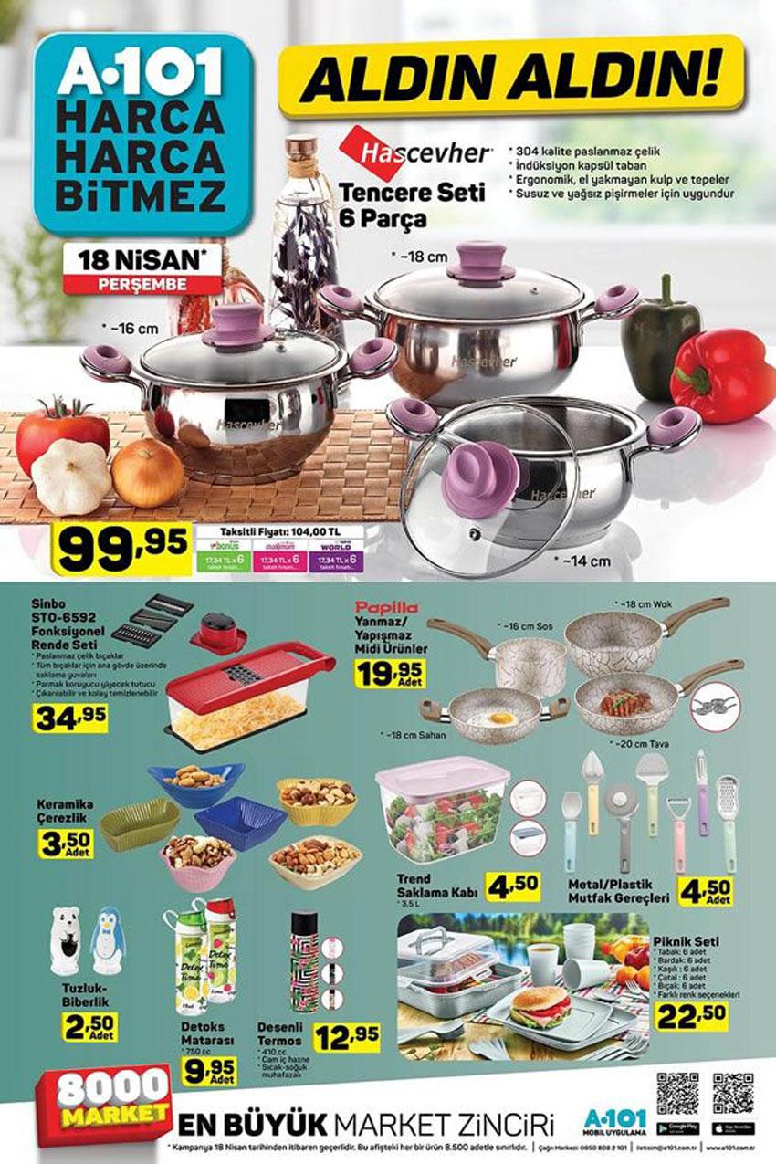 A101 18 Nisan Mutfak Ürün ve Kampanyaları Sayfası