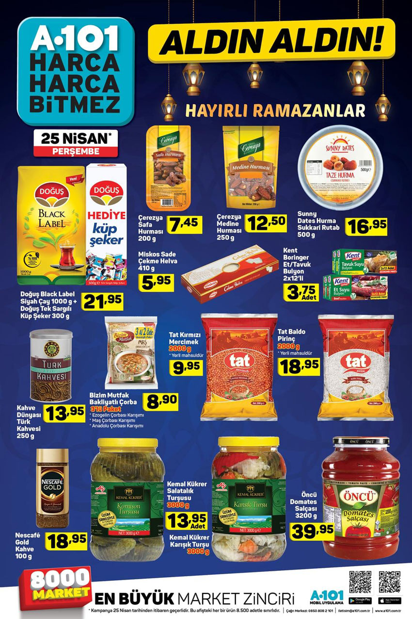 A101 25 Nisan Erken Ramazan Ayı Aktüel Ürünleri