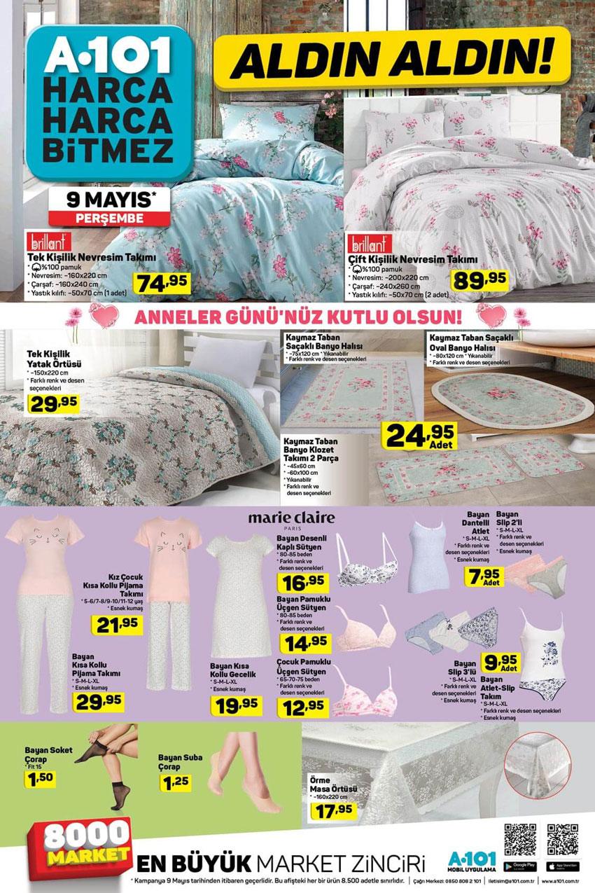 A101 9 Mayıs Anneler Günü Tekstil Ürün İndirimleri