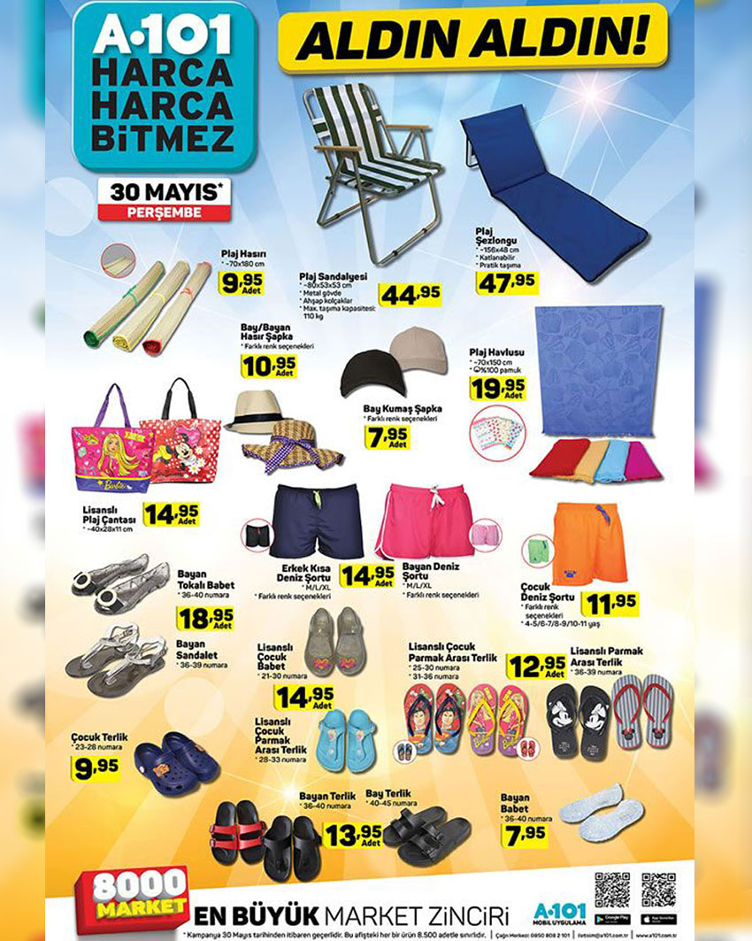 A101 30 Mayıs Yaz Mevsimi Aktüel Ürünleri