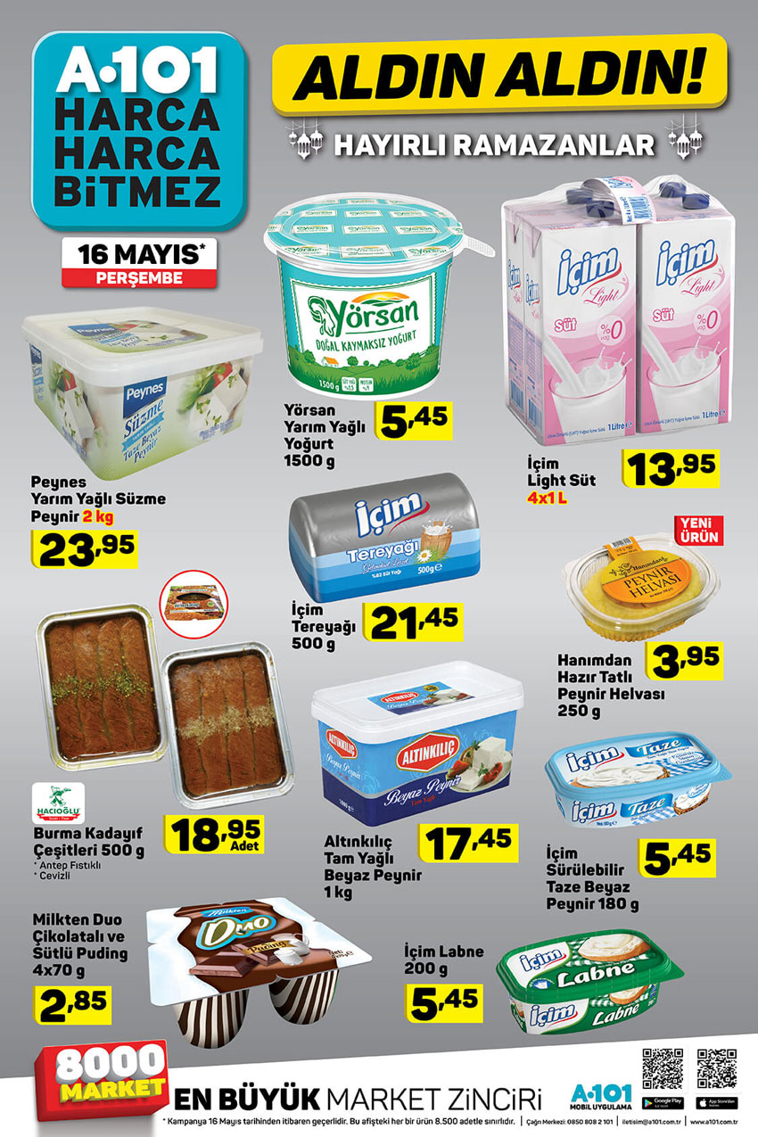 A101 Gıda İndirimleri Ramazan Kampanyaları – 16 Mayıs