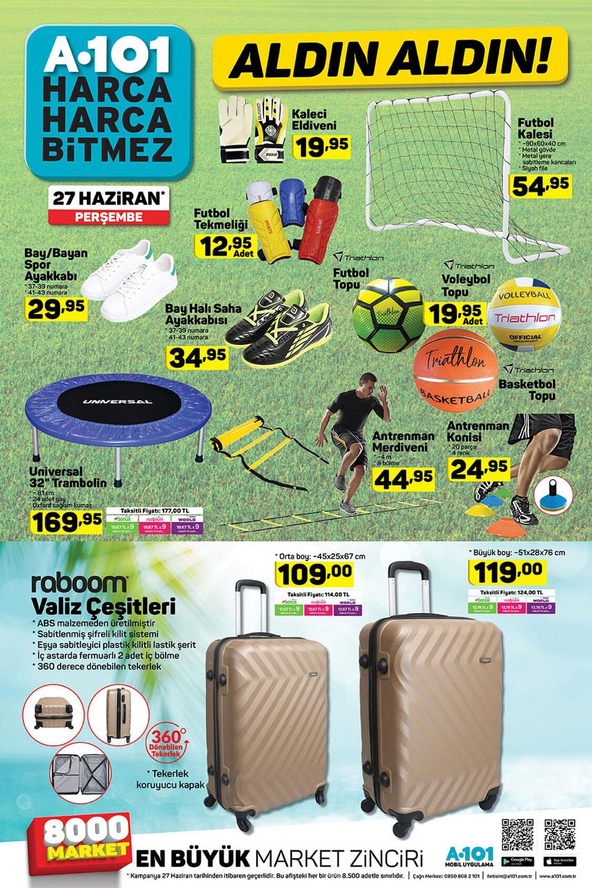 A101 Spor Ürünleri 27 Haziran Kampanyaları Kataloğu