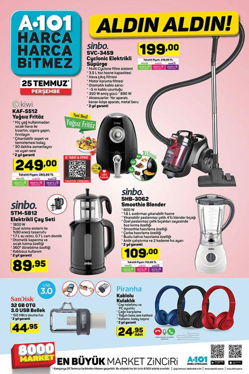 25 Temmuz A101 Ev Elektroniği Uygun Fiyatlı Ürünleri