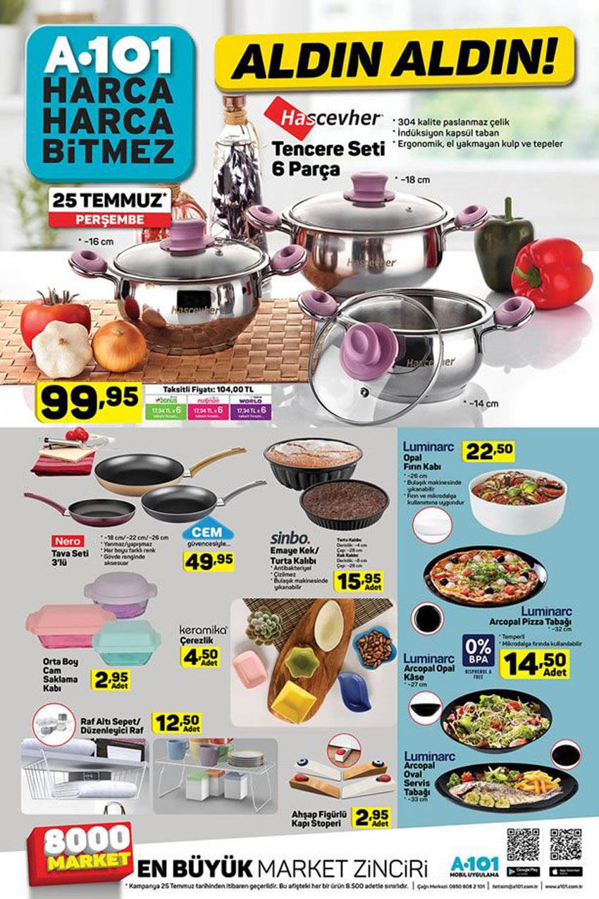 A101 Aktüel 25 Temmuz Perşembe Mutfak Ürünleri