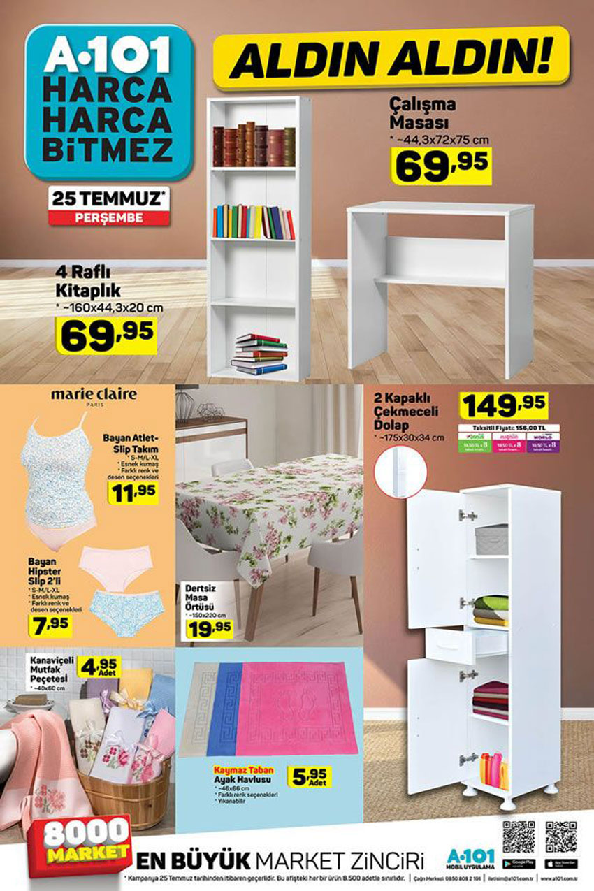 A101 Aldın Aldın Aktüel Ürünleri 25 Temmuz Yeni Katalog