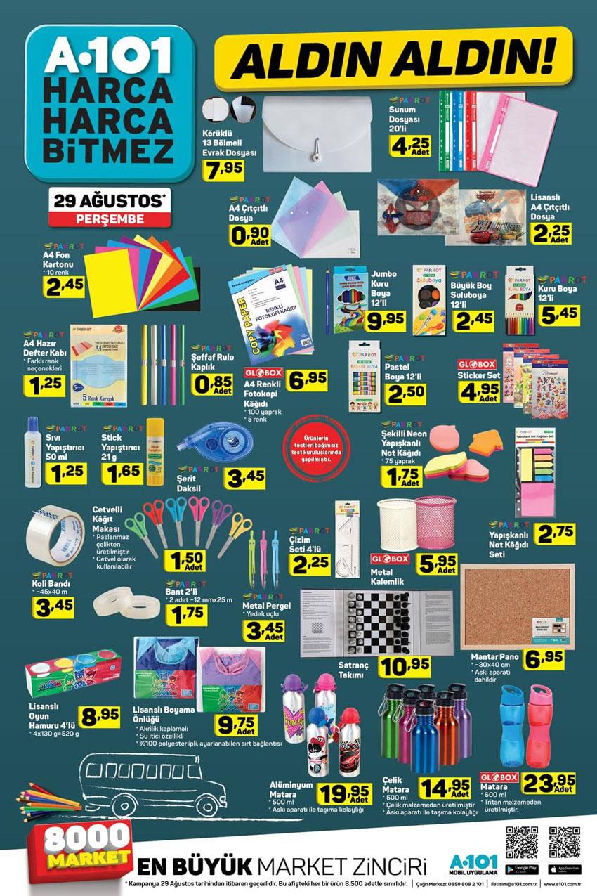 A101 Kırtasiye Malzemeleri Aktüel Ürünleri 26 Ağustos