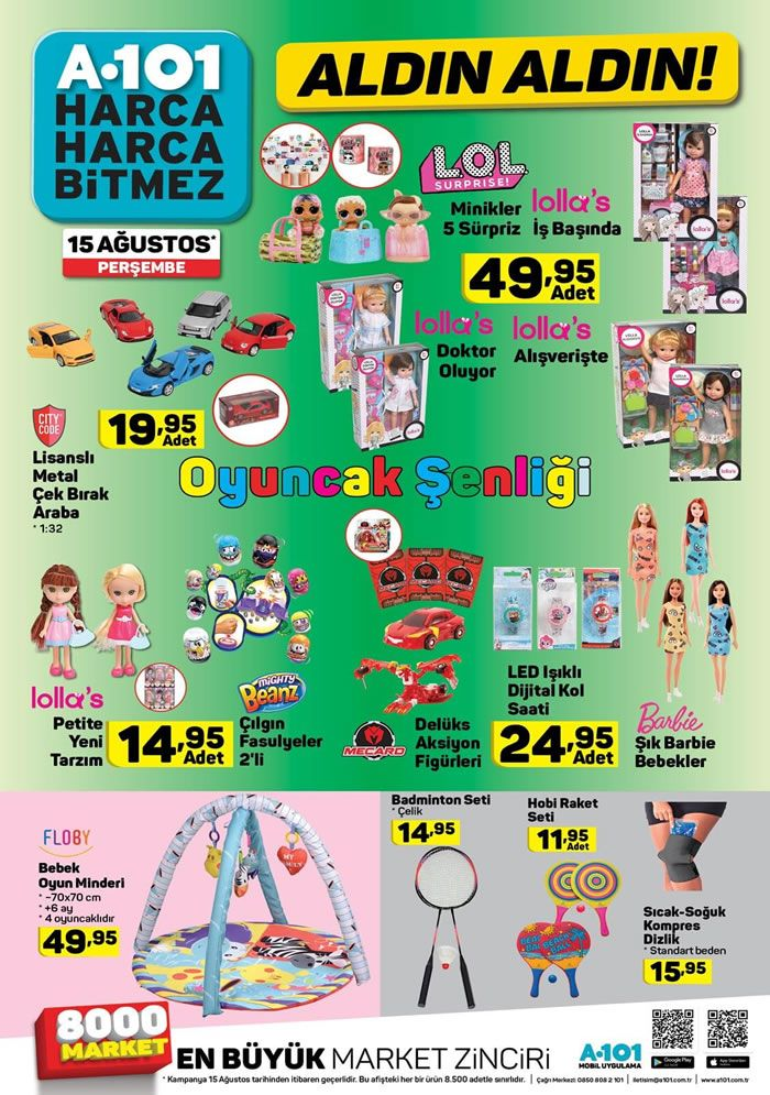 A101 Oyuncak Aktüel Ürünleri 15 Ağustos Sayısı