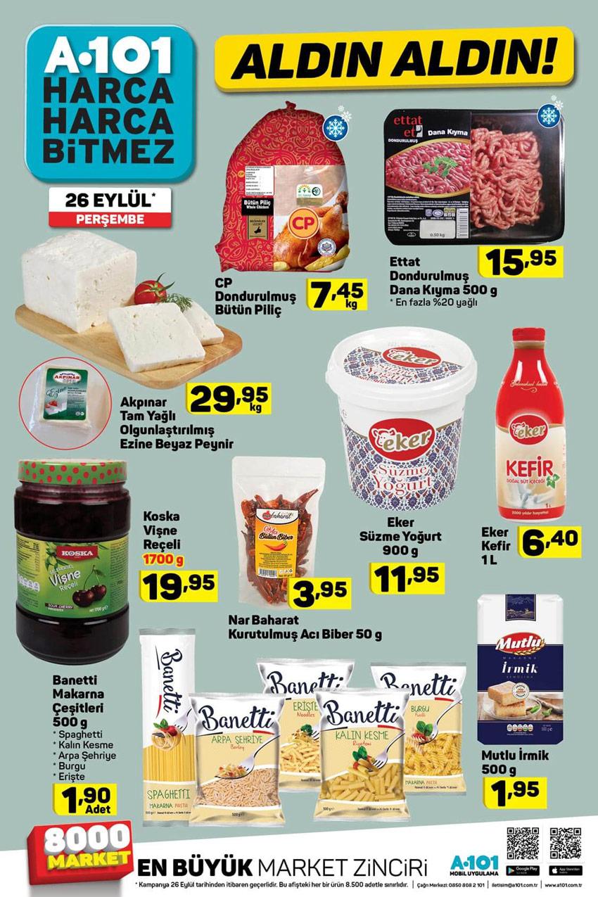 26 Eylül A101 Temizlik ve Gıda Aktüel Ürünler Kataloğu
