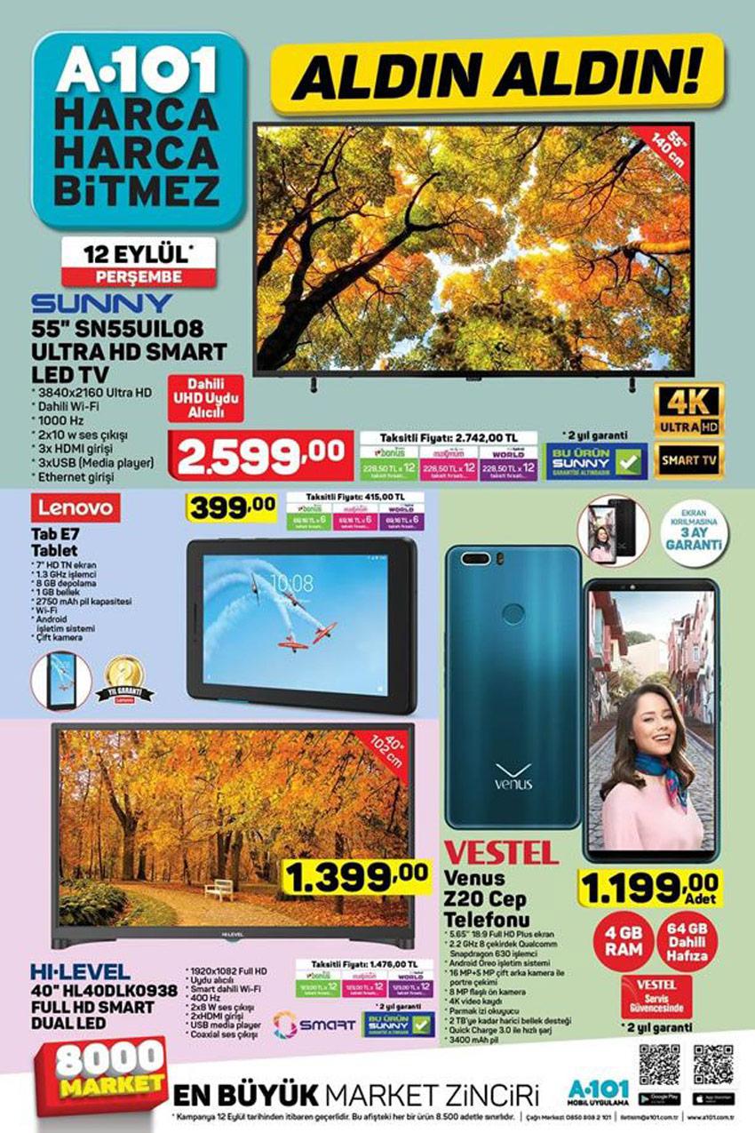 A101 12 Eylül TV Ürünleri Muhteşem İndirimleri