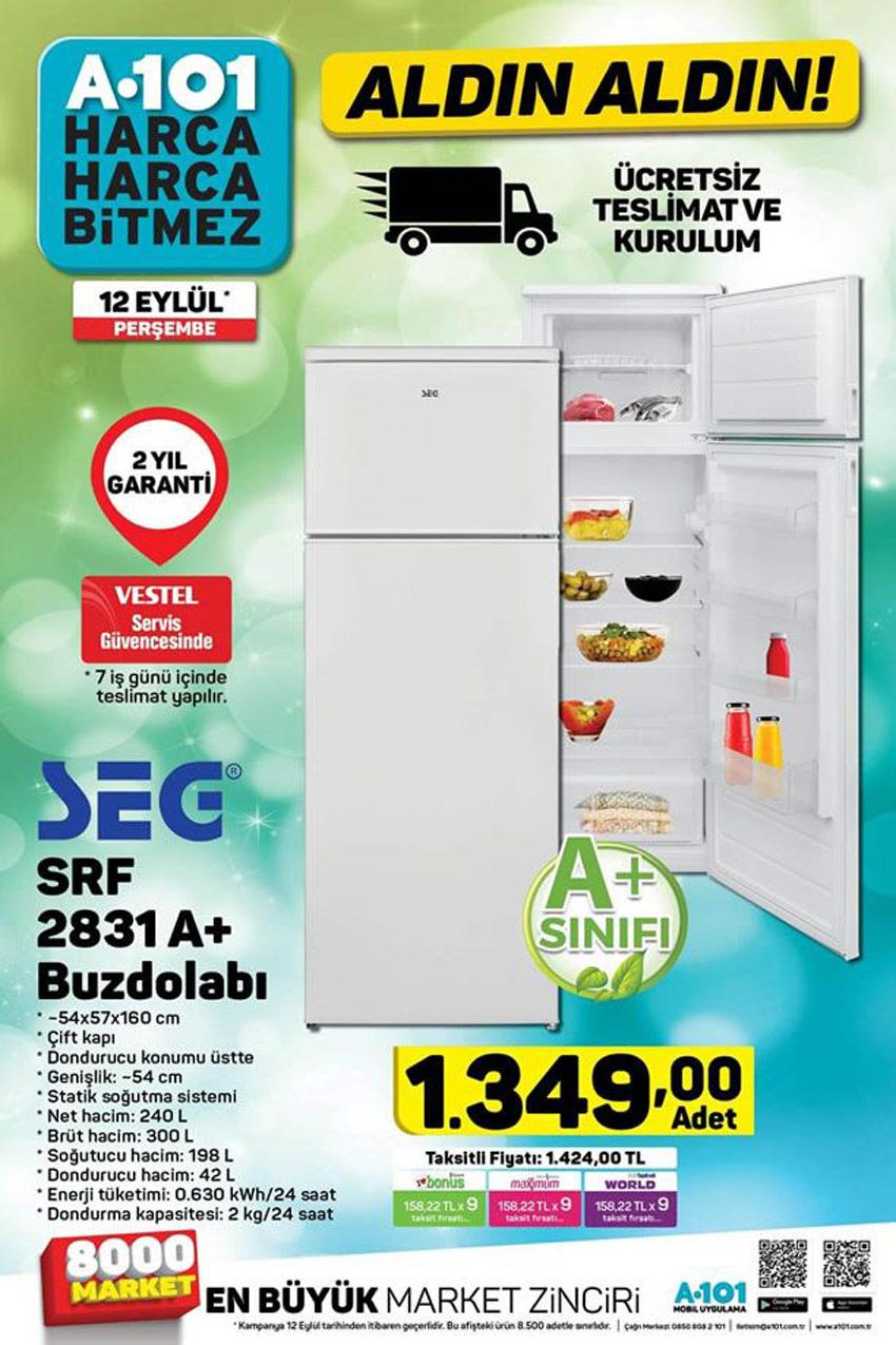 A101 Aktüel 12 Eylül SEG SRF 2831A+ Buzdolabı İndirimi Kataloğu