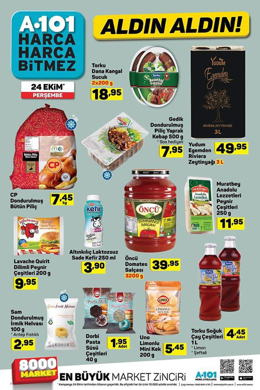 24 Ekim A101 Aktüel Çeşitli Gıda Ürünleri Kataloğu