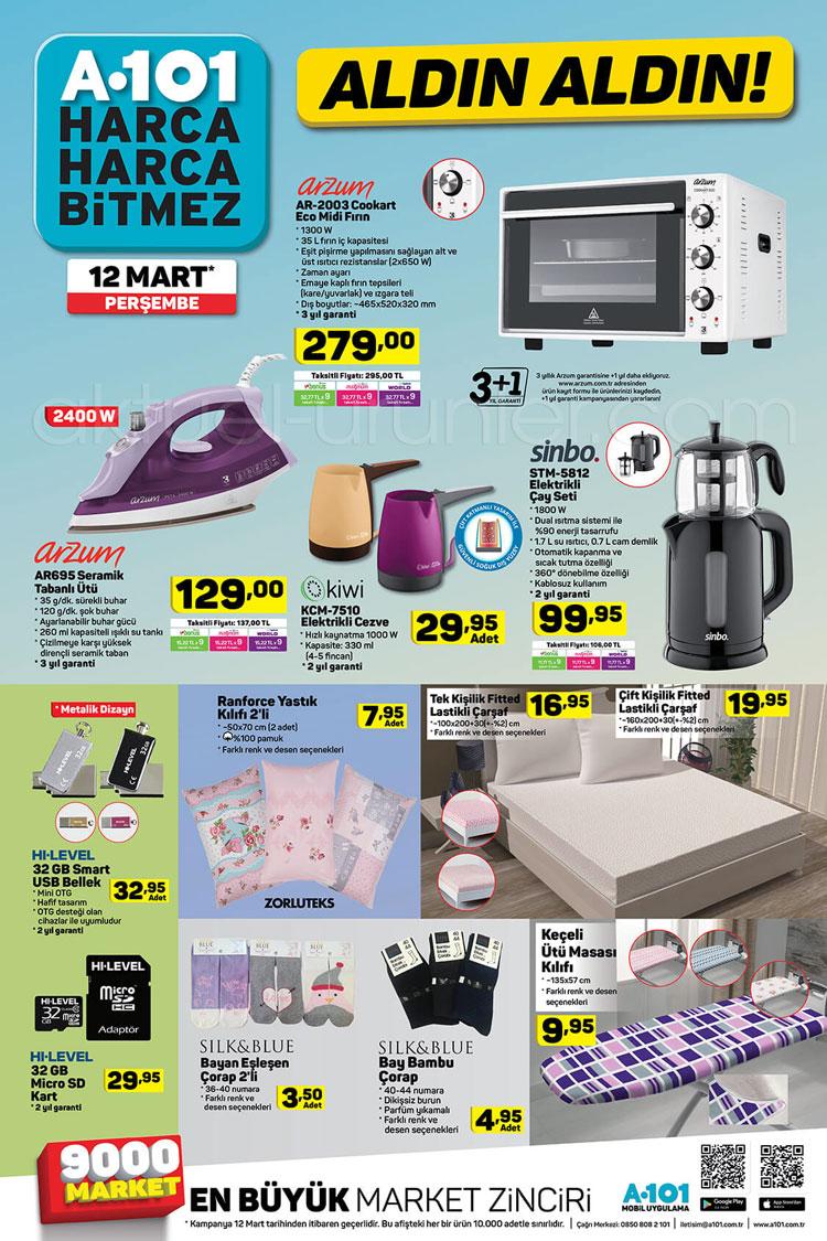 A101 12 Mart 2020 aktüel ürünleri öne çıkan fırsatlarda küçük ev aletleri hakkında katalog görseli