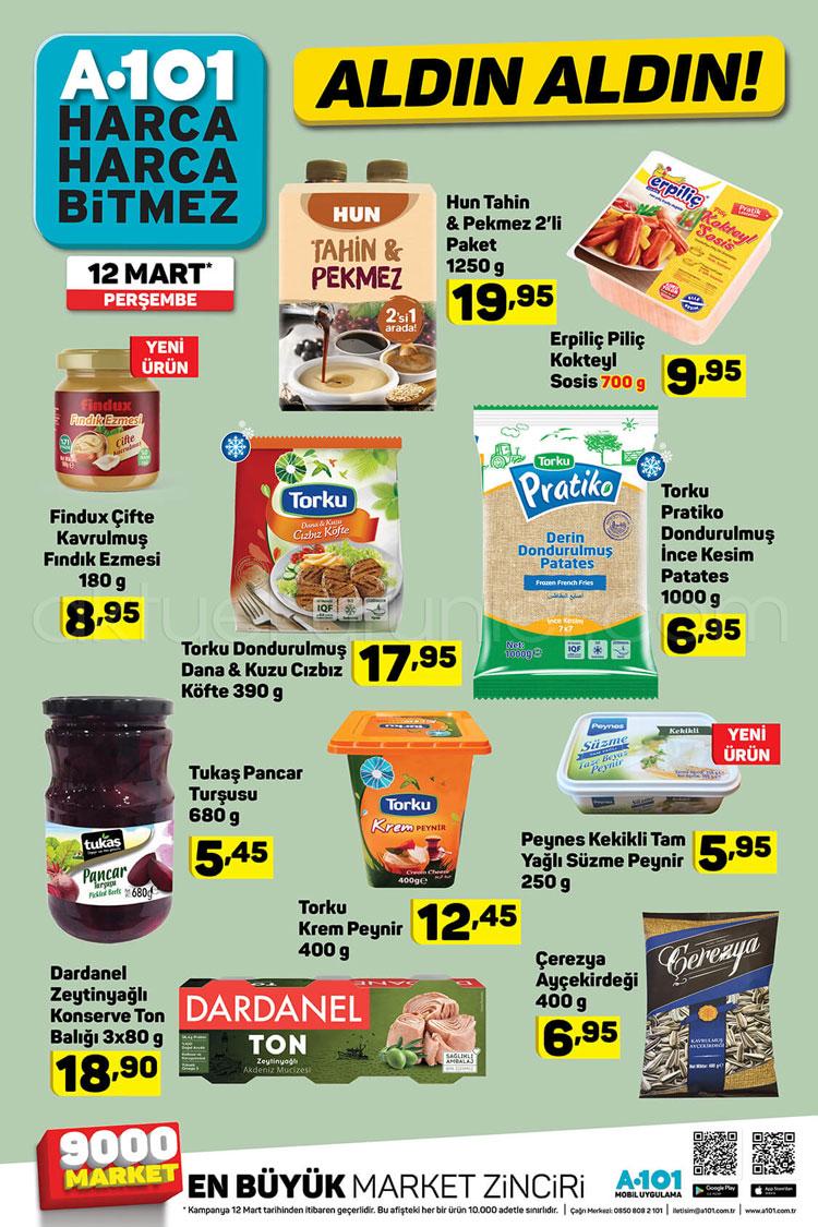 A101 12 Mart 2020 kataloğunun spot gıda ve temizlik ürünleri sayfası
