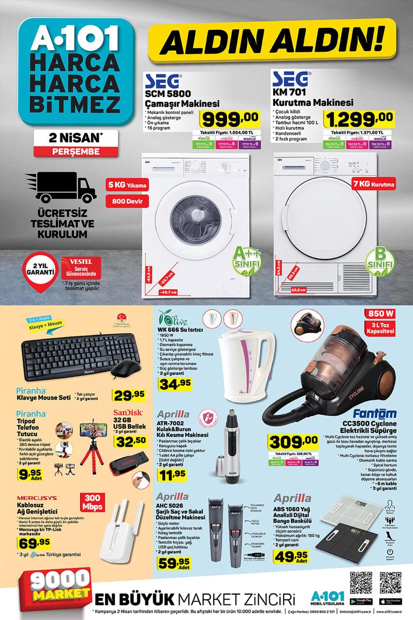 Beyaz Esya ve Elektronik A101 2 Nisan Katalogu