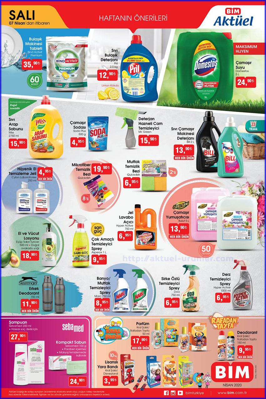 Bim AKTÜEL ürünleri 7 Nisan 2020 tarihli kataloğu ilk broşürü