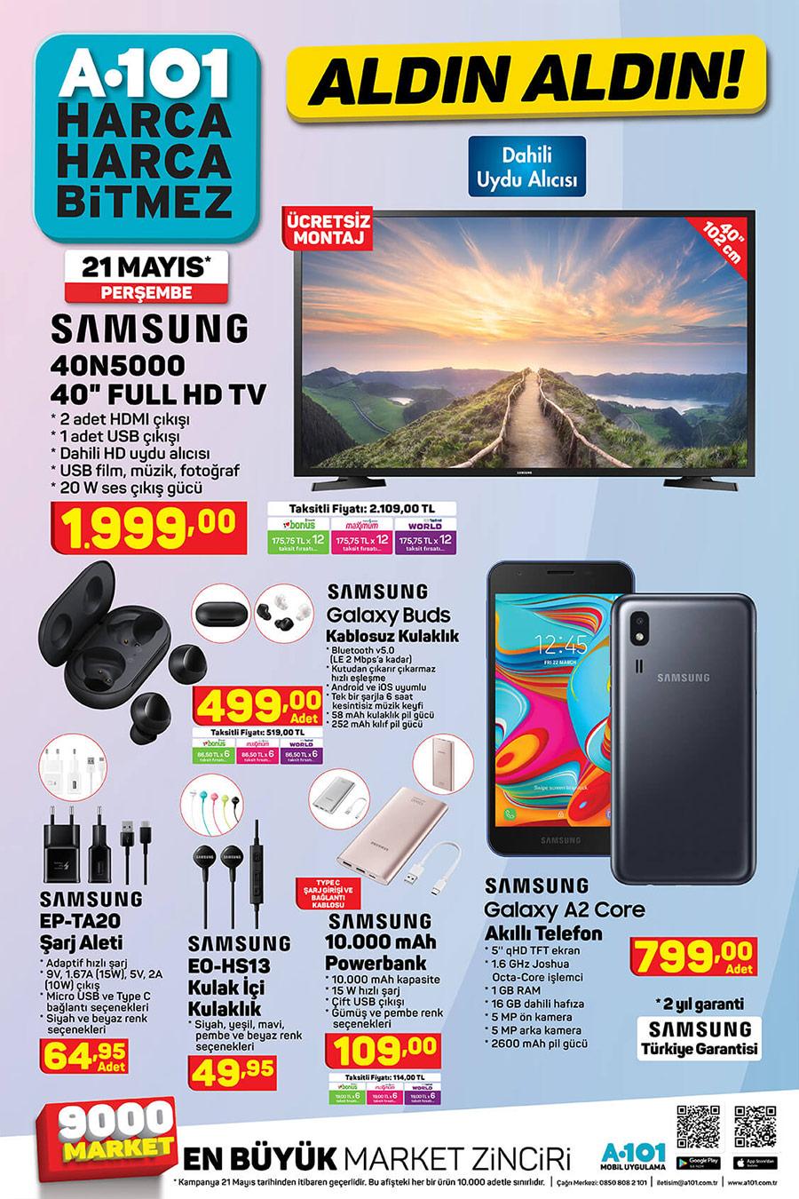 A101 21 Mayıs 2020 Samsung Ürünleri Sayfası