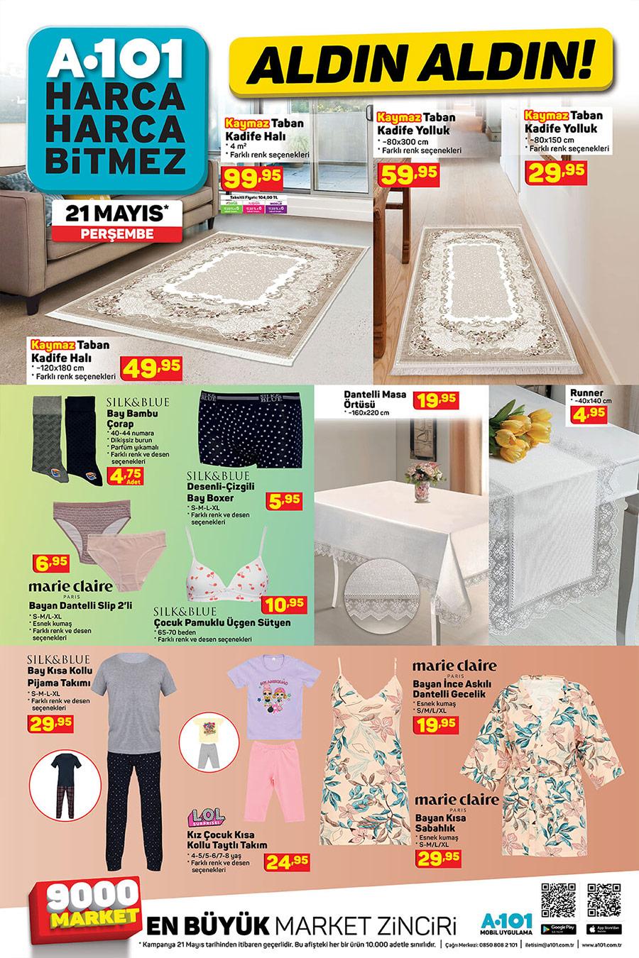 A101 Market 21 Mayis 2020 Ev Tekstili Urunleri