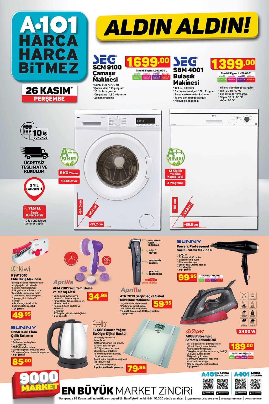 A101 26 Kasım 2020 Aktüel Ürünlerinin Beyaz Eşya ve Elektikli aletleri gösteren kataloğu