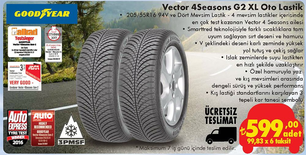 Goodyear Vestor 4 Seasons G2 XL Oto Lastik