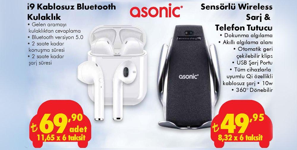 Asonic i9 Kablosuz Bluetooth Kulaklık ve Asonic Sensörlü Wireless Şarj & Telefon Tutucu