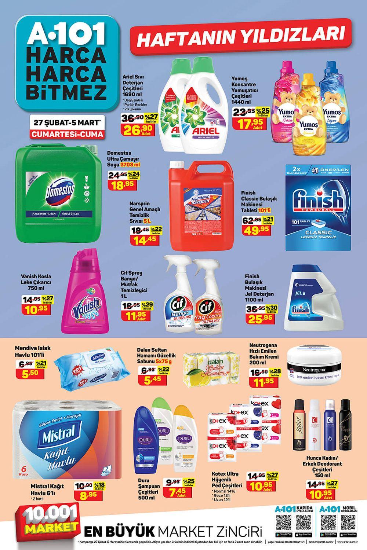 A101 Aktüel 27 Şubat 2021 Hafta Sonu Temizlik Ürünleri Sayfası