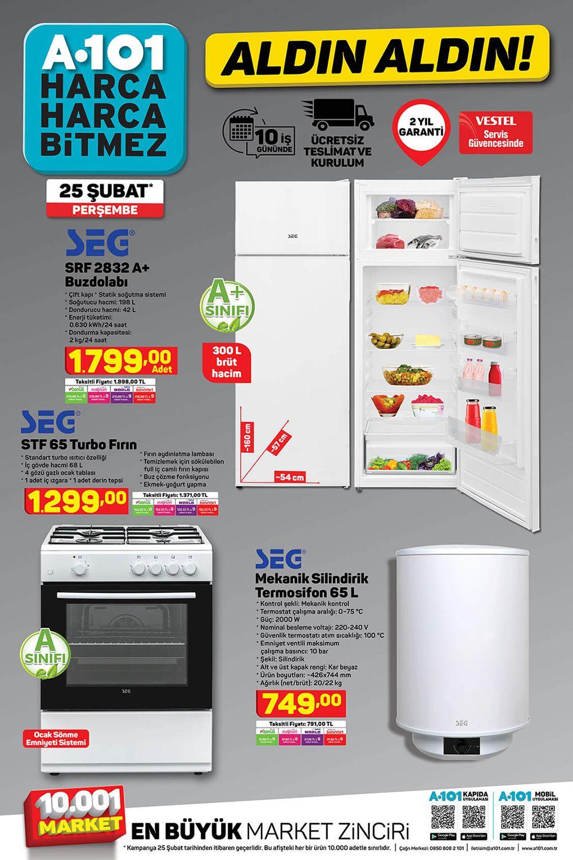 A101 25 Şubat 2021 Beyaz Eşya Ürünleri Kataloğu