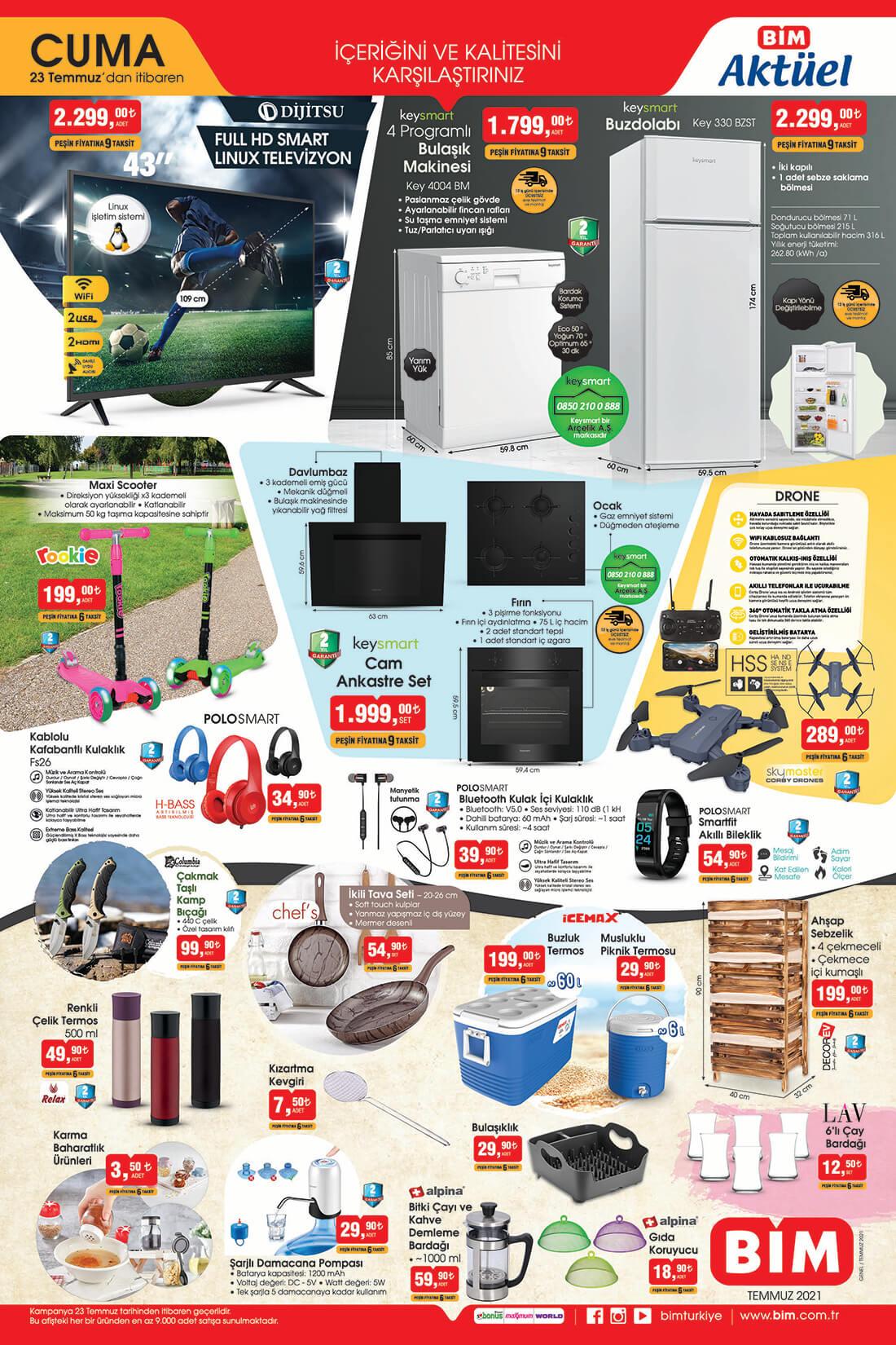 Bim 23 Temmuz 2021 Aktüel Ürünler Kataloğu Elektronik Ürünler ve Diğer Fırsatlar