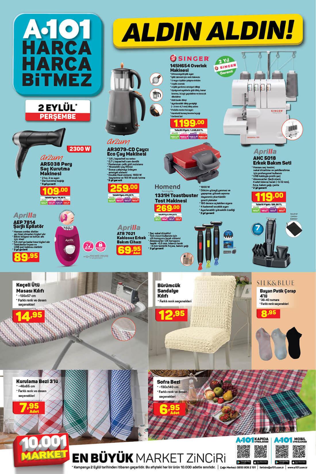 A101 2 Eylül 2021 Ev Elektroniği ve Tekstili Kataloğu