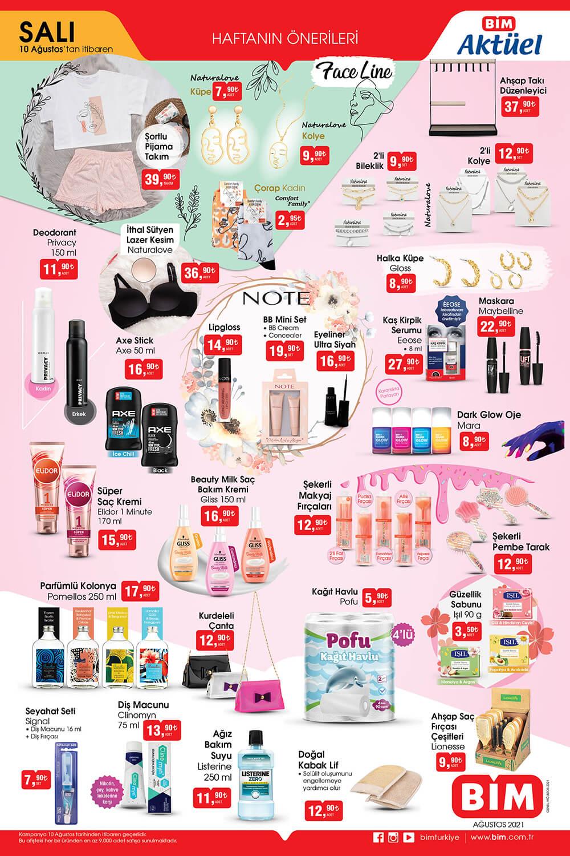 BİM 10 Ağustos 2021 Kataloğu Makyaj ürünleri ve güzellik ürünleri kataloğu