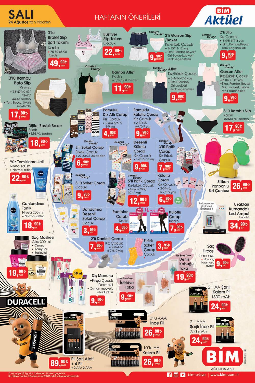 BİM 24 Ağustos 2021 İç Çamaşırları, Kişisel Bakım Ürünleri ve Duracell Pil indirimleri Güncel Sayısı