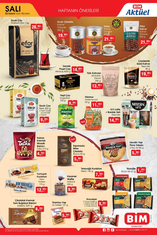 BİM 2 Kasım 2021 Salı Çay ve Kahveler için Özel İndirimler Sunan Aktüel Ürünler Kataloğudur